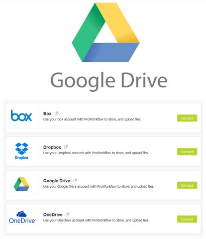 Google Drive Online Storage Integration Proworkflow